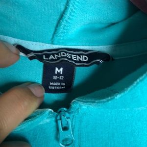 Lands' End Swim - Girls turquoise Lands End Terry zip swim cover up